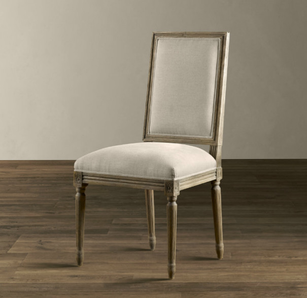 Vintage French Square Upholstered Side Chair Traditional Dining Chairs