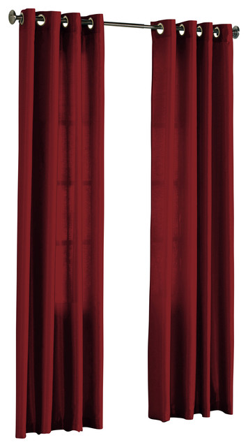Hlc Me Pair Of Faux Silk Grommet Curtain Panels Burgundy 54 X 95 Traditional Curtains