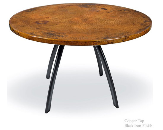 """Mathews & Company - Chanal Dining Table with 48"""" Round Top - Our overview of the new Chanal Dining Table Base Only is on its way but you can still purchase this wonderful piece for your home today. Pictured in Copper top and Black finish."""