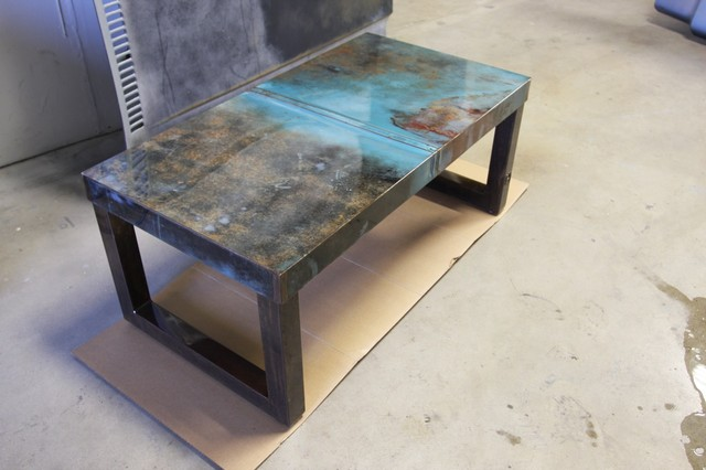 Reclaimed modern steel coffee table  coffee tables