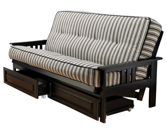 Kodiak Furniture - Monterey Wood Futon Frame in Black, With Full Drawer Set - Made of solid wood, the Monterey futon frame will serve you for years to come. The frame is finished in Black. Available with or without drawers.