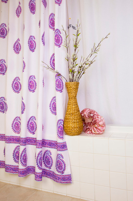 Purple fabric shower curtain - tropical - bath products - other
