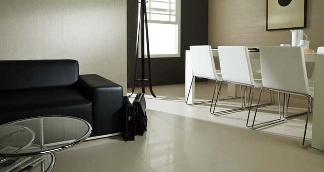Porcelanosa Avenue White Lappato modern-living-room