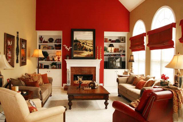 Open Family Room Breakfast Area in Bold Colors