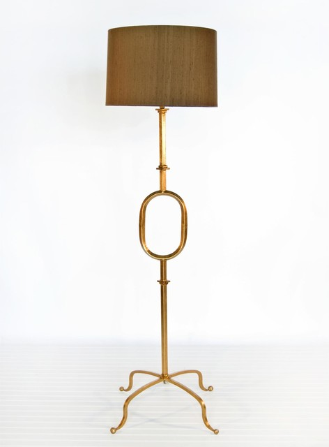 Worlds Away O Floor Lamp Base in Gold Leaf traditional floor lamps
