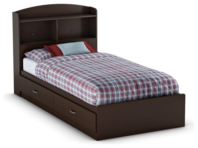 South Shore Logik Bookcase Bed Collection - Chocolate traditional-kids-beds