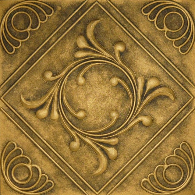 R 02 Styrofoam Ceiling Tile 20x20 Antique Gold Ceiling