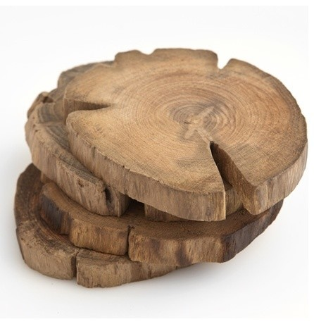 Teak Wood Coasters, Set of 4 modern barware