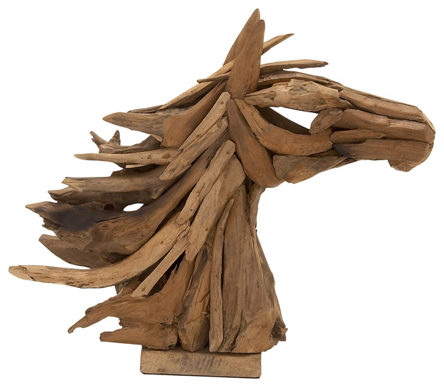 Wood teak horse head rustic home decor by wildorchid for Wooden art home decorations