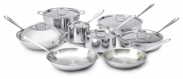 All Clad SS Cookware Set, 14 pc. contemporary-cookware-sets