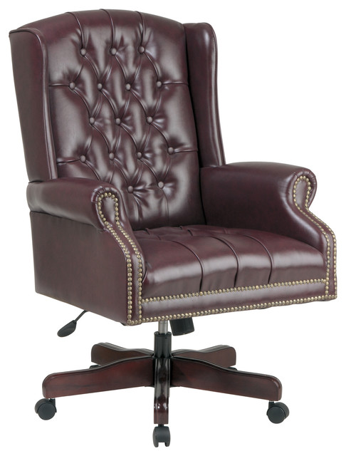 Deluxe High Back Traditional Executive Office Chair In Jamestown Oxblood Viny
