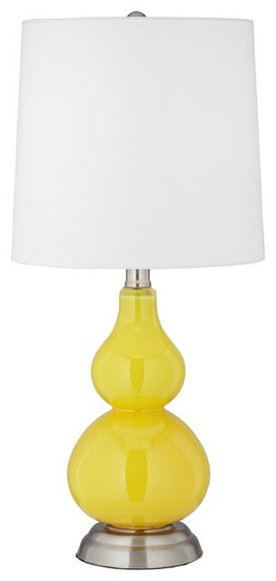 Contemporary Citrus Yellow Small Gourd Accent Table Lamp contemporary-table-lamps
