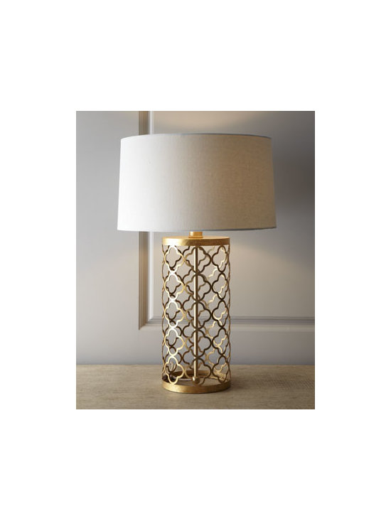 "Regina-Andrew Design - Regina-Andrew Design Quatrefoil Drum Lamp - Lacy, quatrefoil patterning gives this lamp a light, airy feel. A drum shade adds balance. Made of metal. Off-white linen shade. Three-way switch with turn knob at socket; uses one 150-watt bulb. 9"" harp and gold-leaf ball finial. 17.5""Dia. x 28""T...."