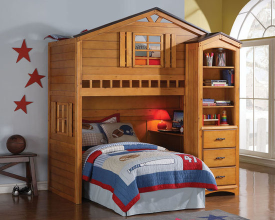 Rustic Wood House Kids Twin loft Bed With Desk - This amazing Loft Bed from Montana Collection by Acme will capture your child's imagination and create the perfect play spot. Made of solid hardwoods and veneers, this collection is bathed in a warm rustic oak finish. This amazing piece presents a cottage house design with windows and roof above the upper part. This piece is great for play and study with its built-in desk. For more storage options you might add a matching book shelf cabinet which features four open shelves and three storage drawers decorated with branch-like handles to add more charm to the entire design. The warm finish brings a cozy and friendly atmosphere that is indispensable in any child's environment! Perfect for boys and girls of any age groups!