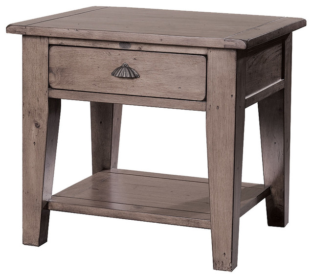Reclaimed Solid Wood End Table with Drawer and Shelf - Farmhouse - Nightstands And Bedside ...