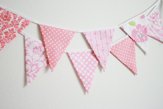 Fabric Banner Bunting Flags, Pretty in Pink by Little Boats contemporary-nursery-decor