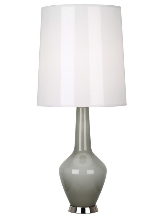 Robert Abbey - Jonathan Adler Capri Bottle Blue Table Lamp, Grey - Jonathan Adler's Capri Collection for Robert Abbey features a hand-blown milk glass interior and a bold blue, grey, orange, or white colored outer-later with a gloss parchment shade. Note, due to the nifty hand-blown nature of the glass, there can be subtle differences from lamp to lamp, but dig it!