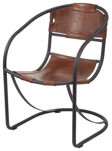 Lazy Susan Retro Round Back Leather Lounger Rustic