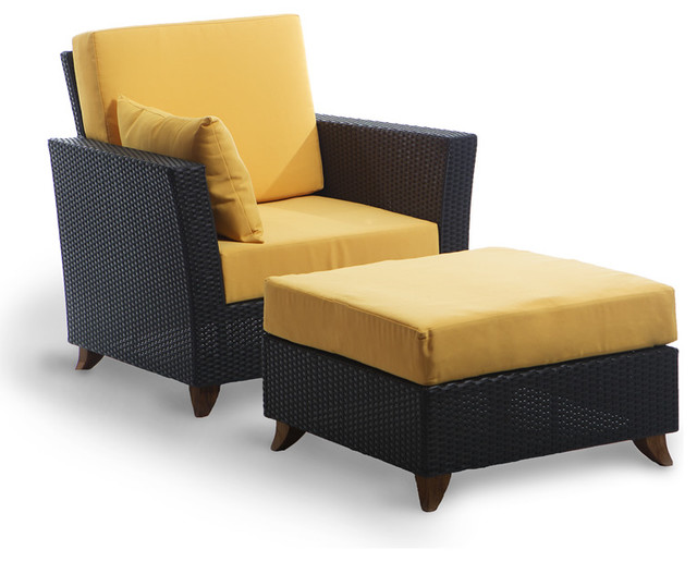 Rattan Chair Ottoman Set with yellow cushion Traditional Outdoor Lounge C