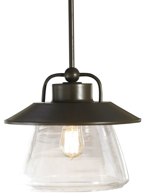 allen roth mission bronze pendant light with clear shade. Black Bedroom Furniture Sets. Home Design Ideas