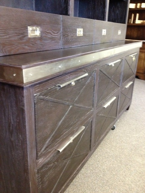Contemporary Credenza with Stainless Accents and File Storage - Contemporary - Furniture ...