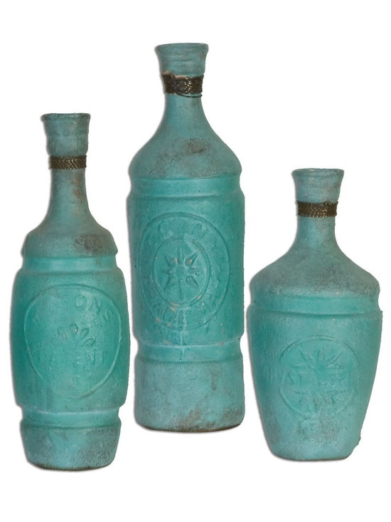 """Uttermost - Jalanili Mint Green Vases - Set of 3 - Made Of Terracotta, This Vases Feature A Mint Green Finish With Copper Accents. Sizes: Sm-5x10x5, Med-4x12x4, Lg-4x13x4. Uttermost's Vases, Urns & Finials Combine Premium Quality Materials With Unique High-style Design. Overall Dimensions: 4""""D x 4""""W x 13""""H"""