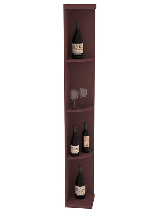 Quarter Round Wine Display in Pine with Walnut Stain - Highly decorative Quarter Round Wine Displays are the perfect solution to racking around corners. Designed with a priority on functionality, these wine storage units are excellent as end caps to walls of wine racking or as standalone shelving.