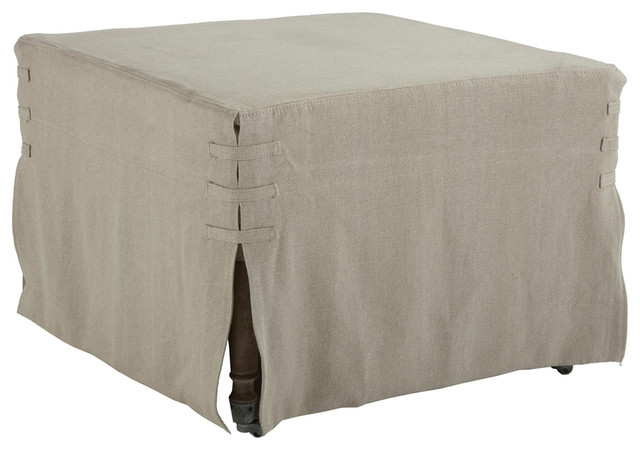"""French Country 25"""" Square Ottoman Hemp Slipcover transitional-accessories-and-decor"""