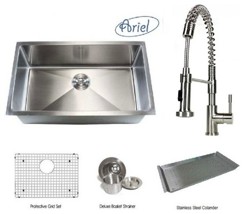 ariel 30 inch single bowl kitchen sink and coil spring faucet combo more info. Black Bedroom Furniture Sets. Home Design Ideas
