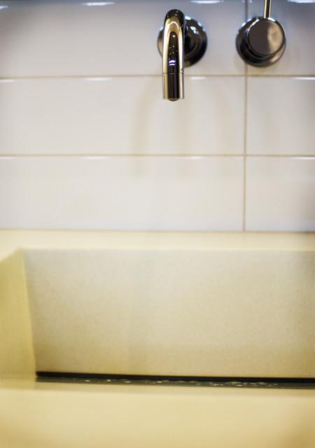 serene modern bathroom + bar