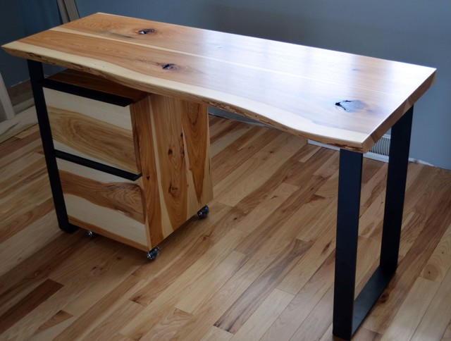 Rustic hickory and steel desk with a natural edge - Modern - Desks And Hutches - milwaukee - by ...