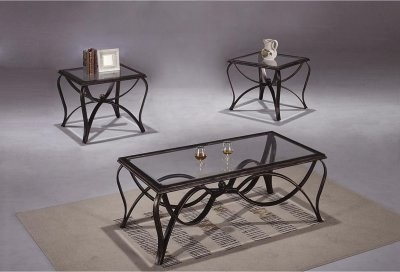 Chelsea Home Rectangle Scroll Metal Base And Glass Top Coffee Table Set Modern Coffee Tables