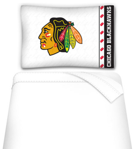 Nhl chicago blackhawks 3pc twin bed sheet set contemporary for Chicago blackhawk bedroom ideas