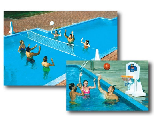 Pool Jam Volleyball and Basketball Combo Game - -Two great family-fun games in one unit!