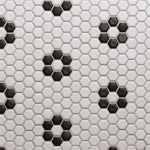 Glazed porcelain 1 hexagon mosaics white with black rose pattern eclectic floor tiles by for 1 inch hexagon floor tiles