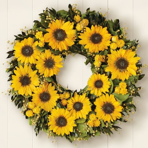 Preserved Sunflower Wreath traditional-wreaths-and-garlands
