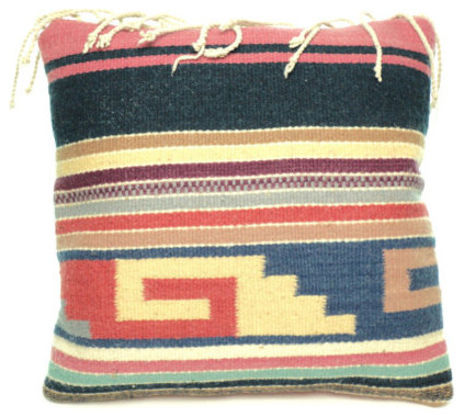 Zapotec Throw Pillows : Colorful Authentic Zapotec Throw Pillow Cover with Fringe