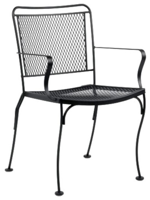 Woodard Constantine Wrought Iron Dining Arm Chair with Optional Cushion Sta