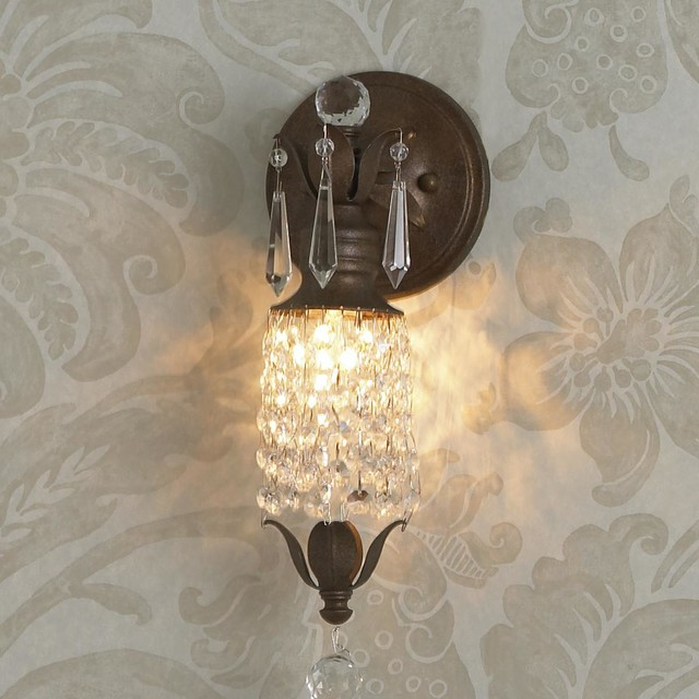 Paris Parlor Crystal Curtain Sconce - 1 Lt. - wall sconces - by