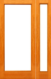 Pre-hung Red Oak-1-lite French Red Oak IG Glass Sidelight Door - Contemporary - Patio Doors ...