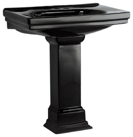 """Foremost F-1950-4-BK Structure Vitreous China Pedestal Sink with 4"""" Centers in B traditional-bathroom-sinks"""