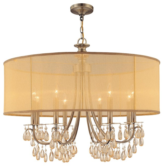 Antique Brass Chandelier Accented with Etruscan Smooth Oyster crystals and Gold modern-chandeliers
