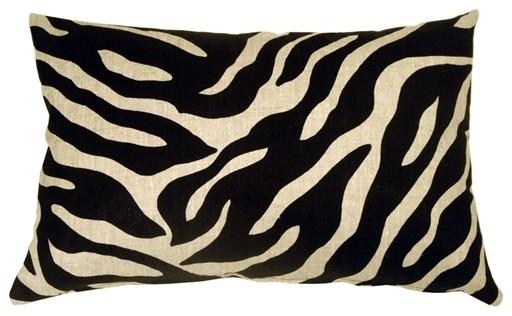 Pillow Decor - Linen Zebra Print 16x24 Throw Pillow contemporary-decorative-pillows