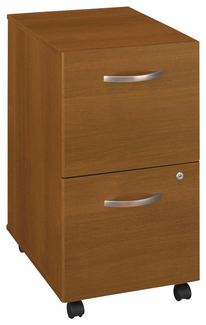 Bush Series C Mobile 2 Drawer File Pedestal in Warm Oak transitional-filing-cabinets-and-carts