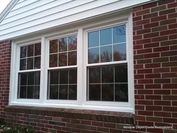 New Windows-Brick Ranch-Mid Century restoration traditional