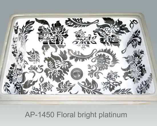 "Hand Painted Undermounts by Atlantis Porcelain - ""FLORAL BRIGHT PLATINUM"" Shown on white Ladena vanity undermount rectangular with overflow center drain I/D (19-1/2""W x 13-1/4""D x 6""depth). Available in bright gold or platinum and burnished gold or platinum on any of our white fixtures."