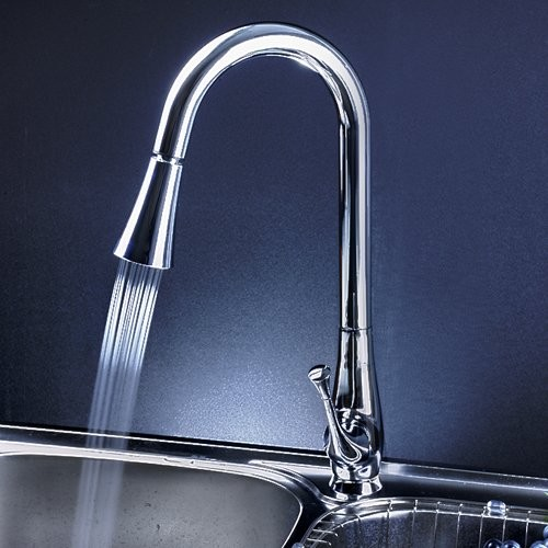 single handle chrome pull out led kitchen faucet modern