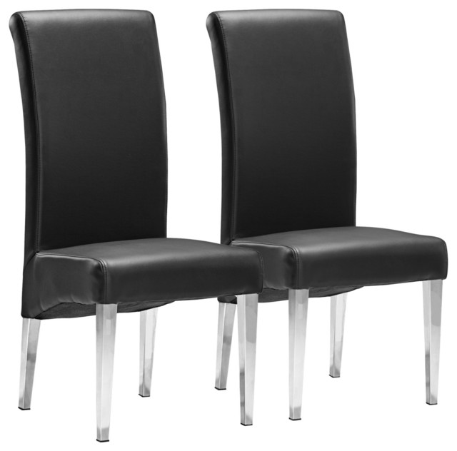 Set of 2 Zuo Pencil Black Dining Chairs contemporary-dining-chairs