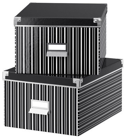 KASSETT Box with Lid for Paper, Black/White modern-storage-bins-and-boxes