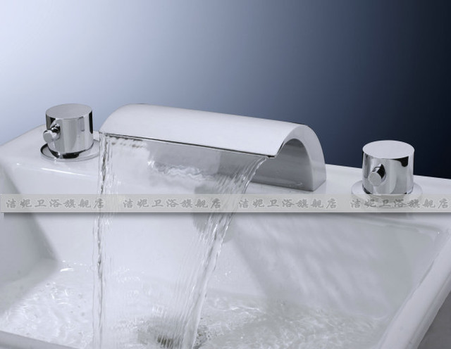 NEW**two hole Waterfall basin Faucet 8816 chrome finish modern-showerheads-and-body-sprays